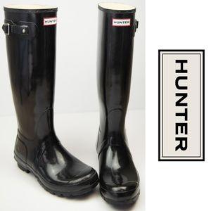 Hunter Original Tall Gloss Rain Boots Black 8